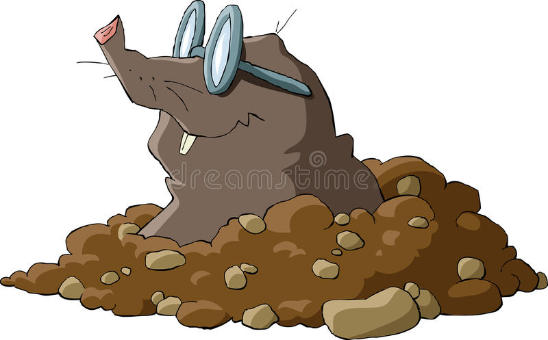 Mole. A mole wearing glasses and a hole, vector