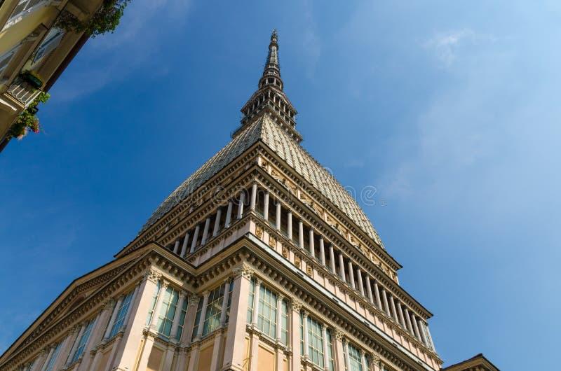 Mole Antonelliana tower building, Turin, Piedmont, Italy. Mole Antonelliana tower building with spire steeple is major landmark and symbol of Turin Torino city royalty free stock image