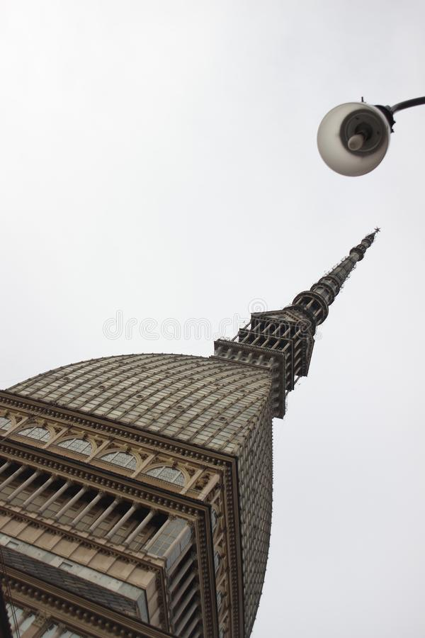 Mole Antonelliana, Winter in Turin lizenzfreies stockfoto