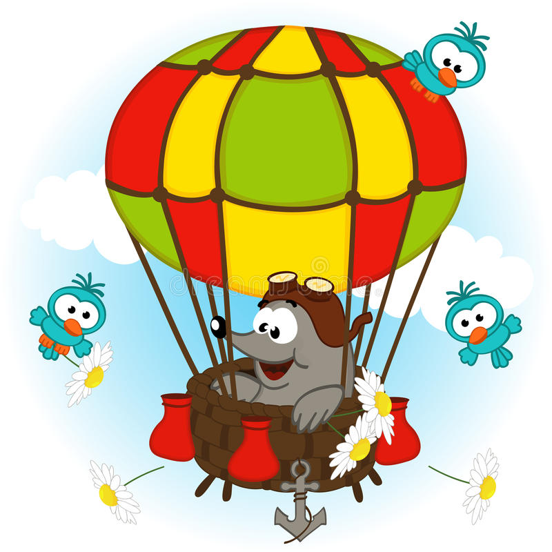 Mole in balloon stock illustration