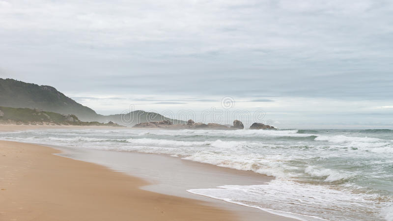 Mole beach in Florianopolis, Santa Catarina, Brazil. One of the main tourists destination in south region royalty free stock image