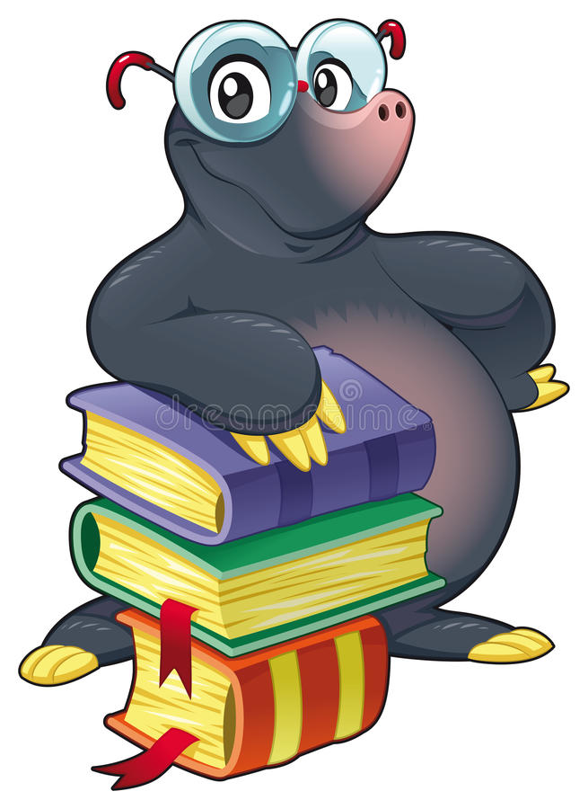 Mole with books. stock illustration