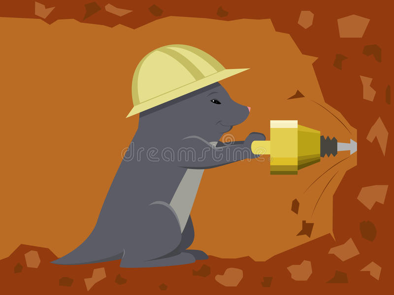 Mole builder is digging a tunnel with jackhammer vector illustration