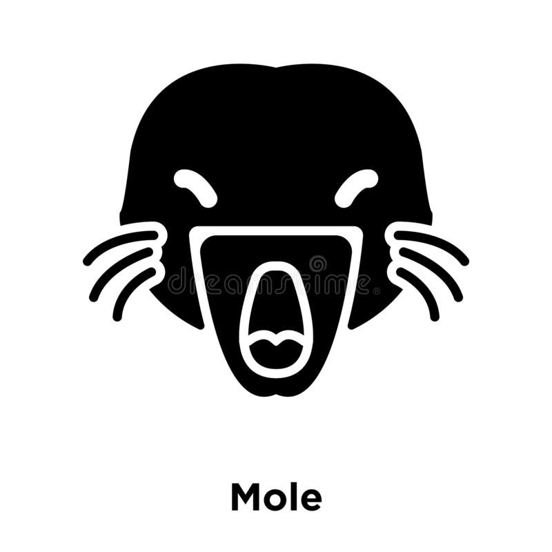 Mole On White Background. Black Silhouette In A Red Circle