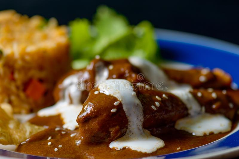 Mole Poblano sauce with chicken and Mexican rice stock images