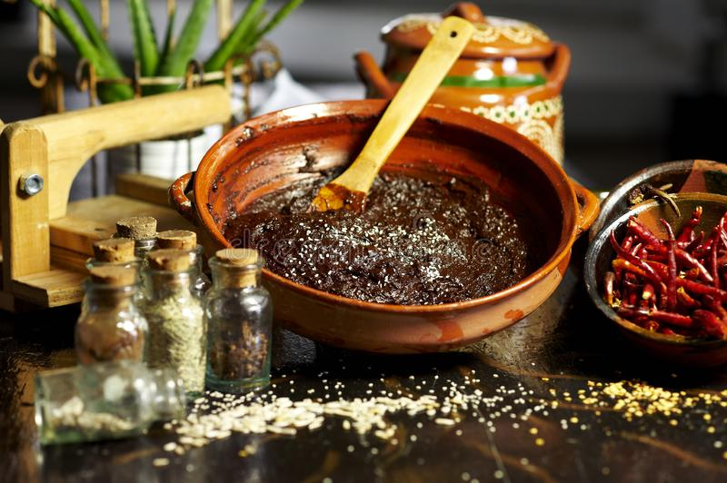 Mexican sauce for chicken called mole. Mole is sauce made with chocolate originated from mexico royalty free stock images