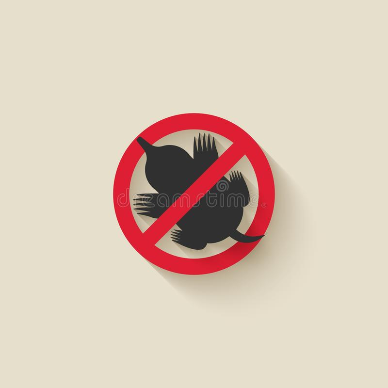 Mole silhouette. Animal pest icon stop sign royalty free illustration