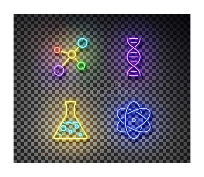Molecola al neon, boccetta di chimica, DNA, vettore dei segni dell'atomo isolato sopra su fondo trasparente Chemis illustrazione di stock