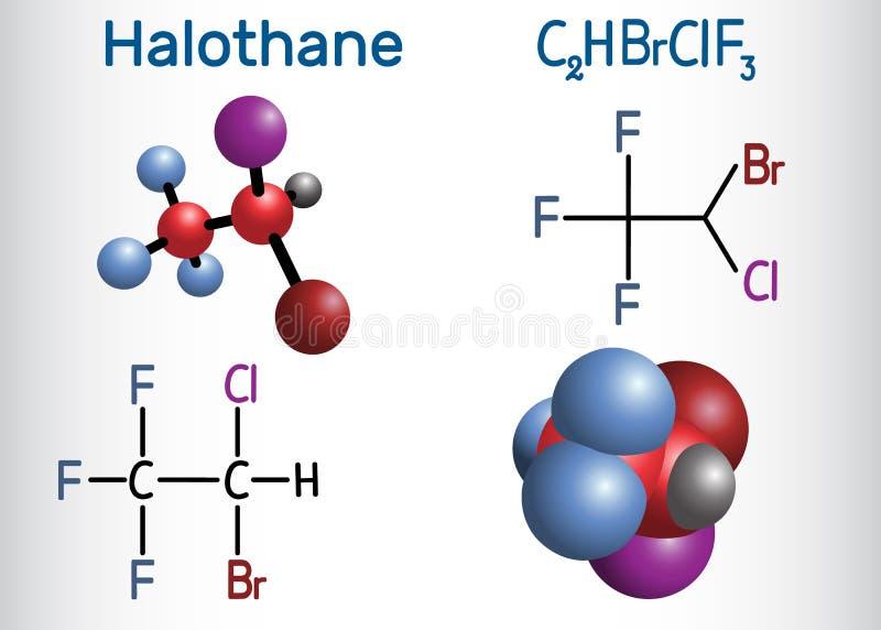 Molecola anestetica generale della droga dell'alotano Modello strutturale della molecola e di formula chimica royalty illustrazione gratis