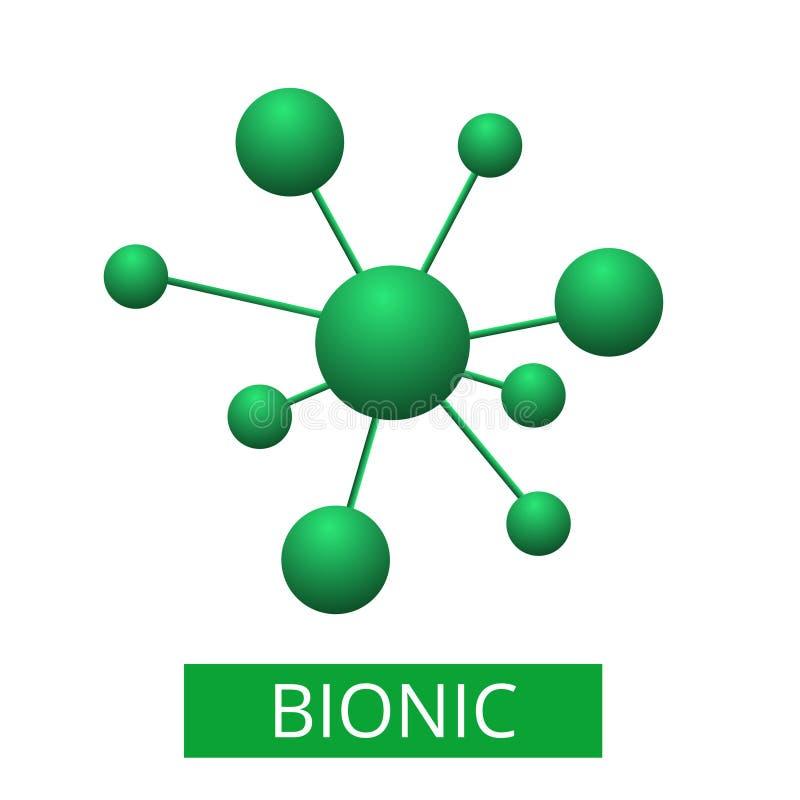Molecola astratta isolata su fondo bianco illustrazione vettoriale