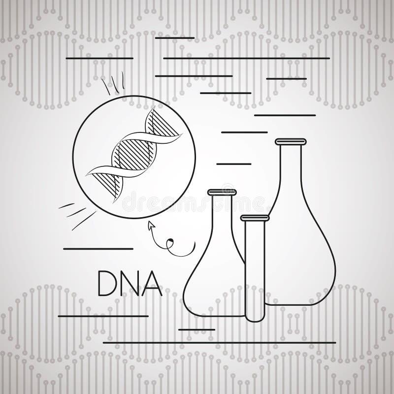 Molecola del DNA con le prove del tubo royalty illustrazione gratis