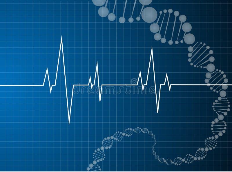 Molecola del DNA dei battiti cardiaci illustrazione di stock
