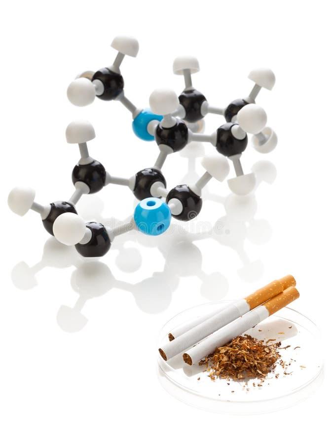 Molecola del nicotina con tabacco e le sigarette immagine stock