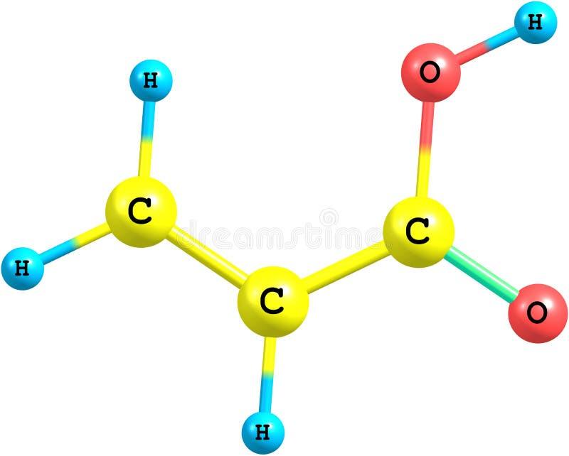 Download Molecola Dell'acido Acrilico Isolata Su Bianco Illustrazione di Stock - Illustrazione di blocco, ripetizione: 56888656