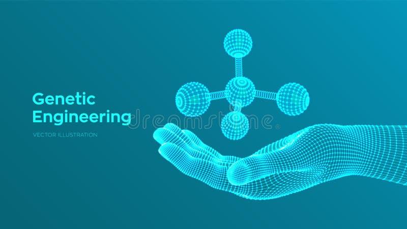 Molecola a disposizione DNA, atomo, neuroni Molecole e formule chimiche fondo scientifico della molecola 3D per medicina, scienza royalty illustrazione gratis