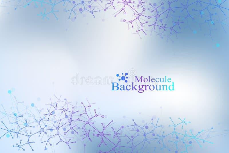 Molecola grafica variopinta e comunicazione del fondo Linea del collegamento con i punti Composizione astratta geometrica per illustrazione di stock