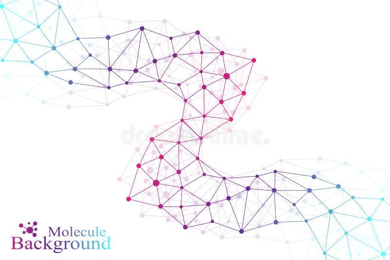 Molecola grafica variopinta e comunicazione del fondo Linee collegate con i punti Medicina, scienza, progettazione di tecnologia illustrazione vettoriale