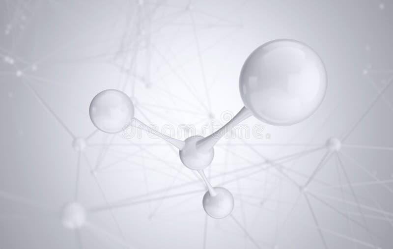 Molecola o atomo bianco, struttura pulita astratta per scienza o fondo medico immagini stock