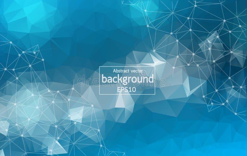 Molecola poligonale blu geometrica e comunicazione del fondo Linee collegate con i punti Fondo di minimalismo Concetto della s royalty illustrazione gratis