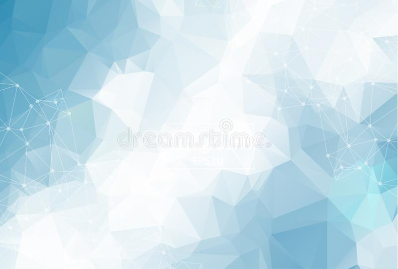 Molecola poligonale leggera blu geometrica e comunicazione del fondo Linee collegate con i punti Fondo di minimalismo Concetto di illustrazione vettoriale