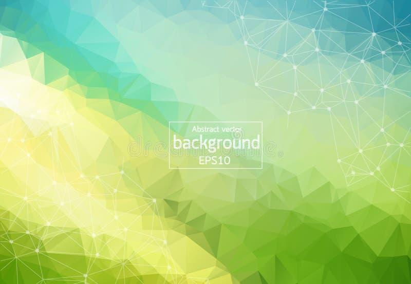 Molecola poligonale verde blu geometrica e comunicazione del fondo Linee collegate con i punti Fondo di minimalismo Concetto di illustrazione di stock