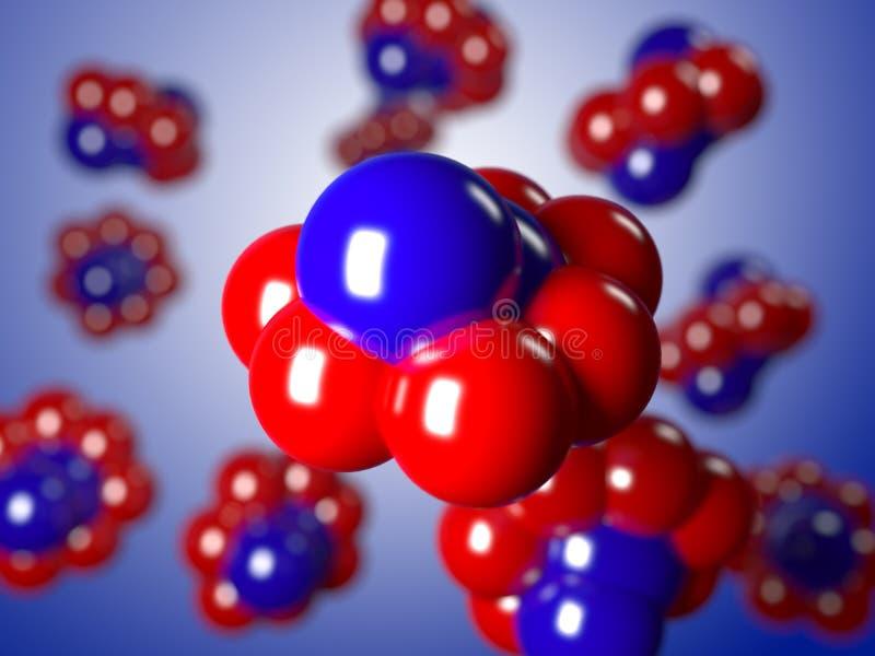 Molecole blu degli atomi, isolate su un fondo bianco illustrazione vettoriale