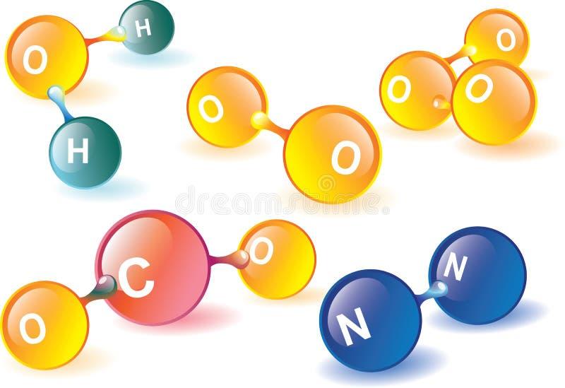Molecole dell'atmosfera terrestre illustrazione vettoriale