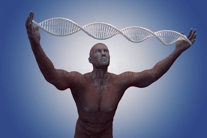 Molecole ed uomini del DNA nell'illustrazione 3D fotografia stock