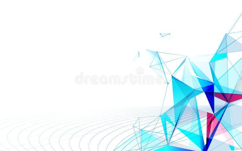 Molecole futuristiche astratte con il fondo di concetto di tecnologia del collegamento illustrazione di stock