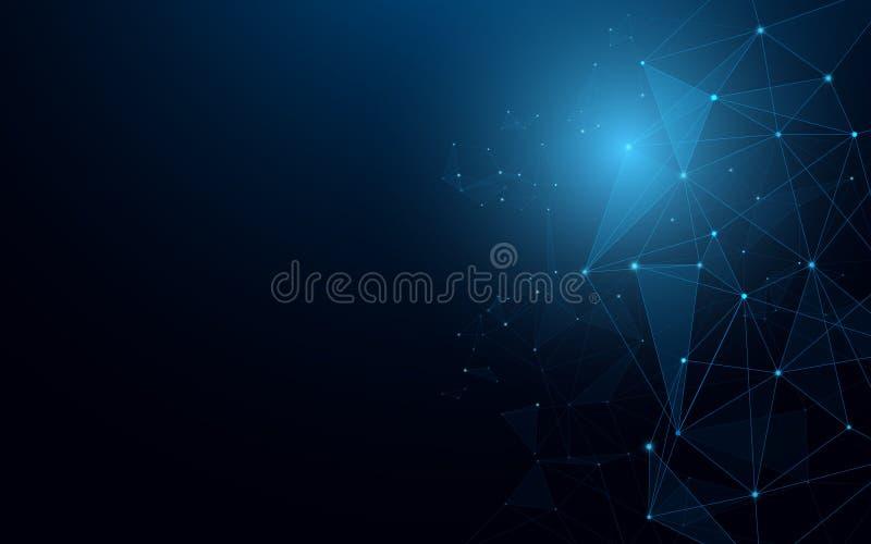 Molecole futuristiche astratte Linee e concetto dei collegamenti di tecnologia su fondo blu scuro illustrazione vettoriale