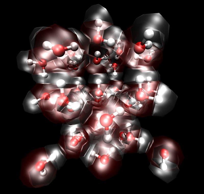 Molecole in un cristallo di ghiaccio royalty illustrazione gratis