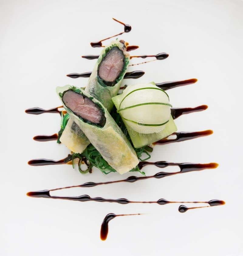 Moleculair de lentebroodje van de keuken Knapperig tonijn met crea van het cucmberijs royalty-vrije stock afbeelding