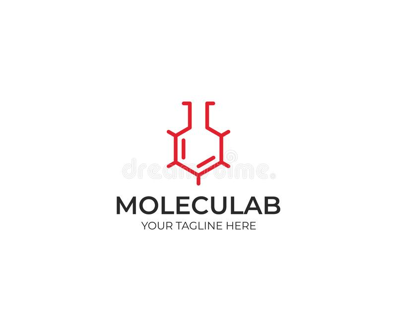 Moleculair Laboratorium Logo Template Skeletachtige Moleculaire Structuur vector illustratie