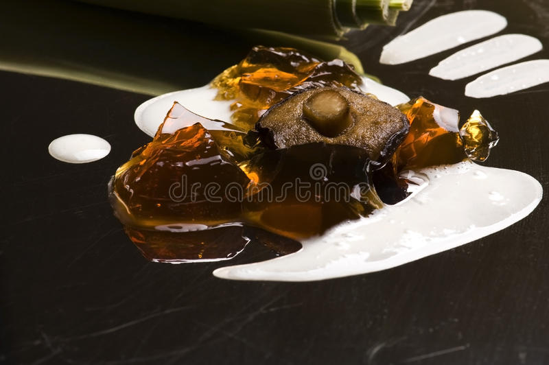 Moleculaire gastronomie - champignonsoep stock foto's