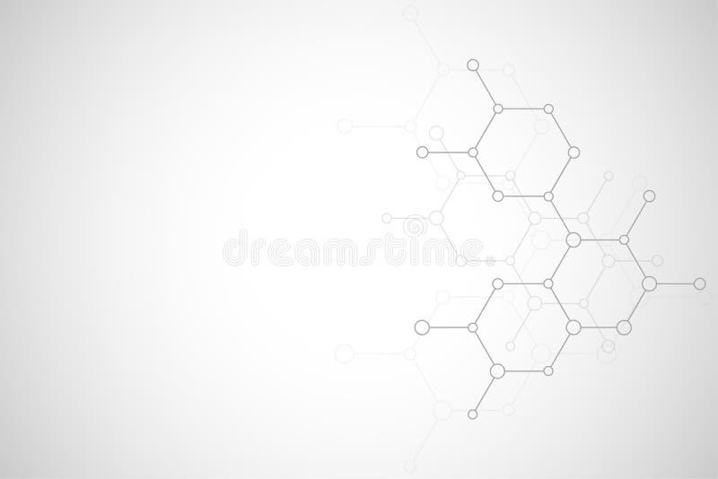 Moleculaire structuur en chemische elementen Abstracte moleculesachtergrond Wetenschap en digitaal technologieconcept vector illustratie