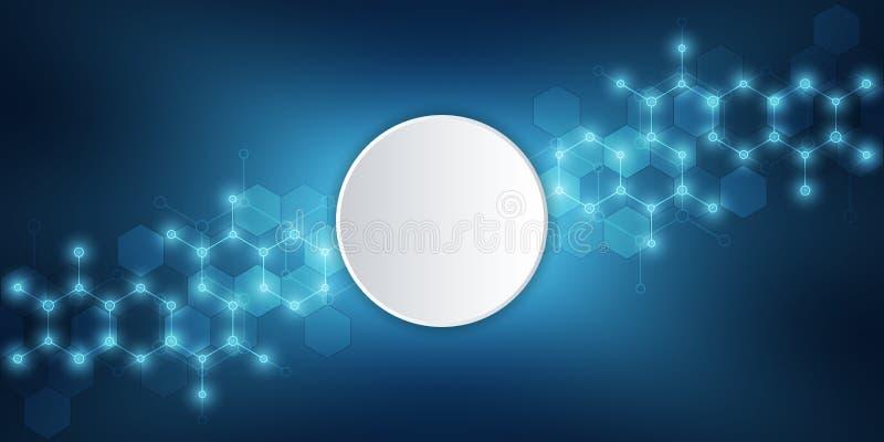 Moleculaire structuur en chemische elementen Abstracte moleculesachtergrond Wetenschap en digitaal technologieconcept Vector vector illustratie