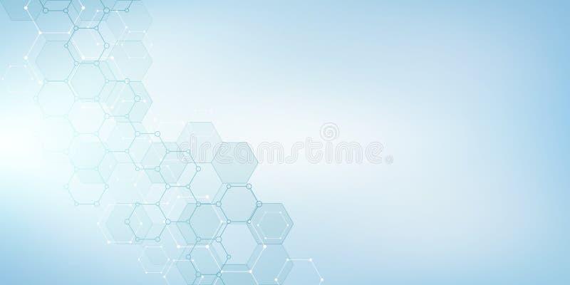 Moleculaire structuur en chemische elementen Abstracte moleculesachtergrond Wetenschap en digitaal technologieconcept Vector stock illustratie