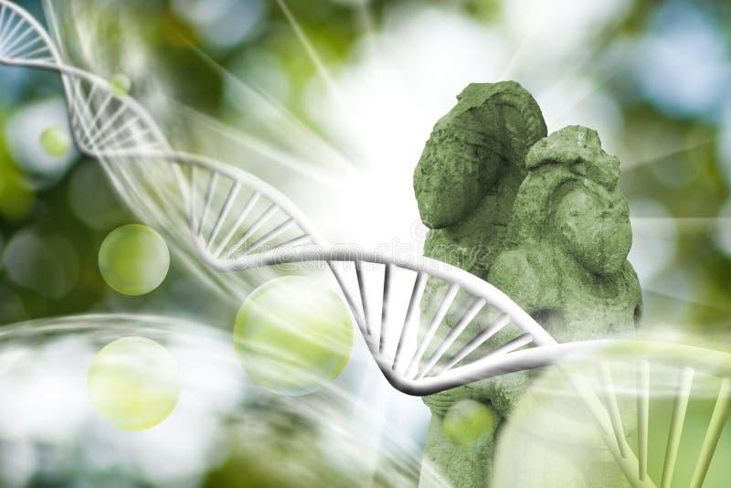 Moleculaire structuur, ketting van DNA en oude standbeelden op een groene achtergrond stock fotografie
