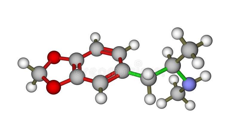 Moleculaire structuur van MDMA (vervoering) royalty-vrije illustratie