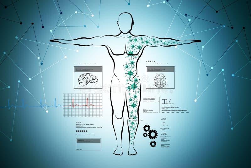 Moleculaire structuur van menselijk lichaam royalty-vrije illustratie