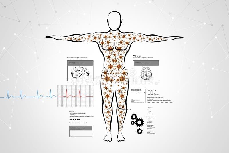 Moleculaire structuur van menselijk lichaam vector illustratie