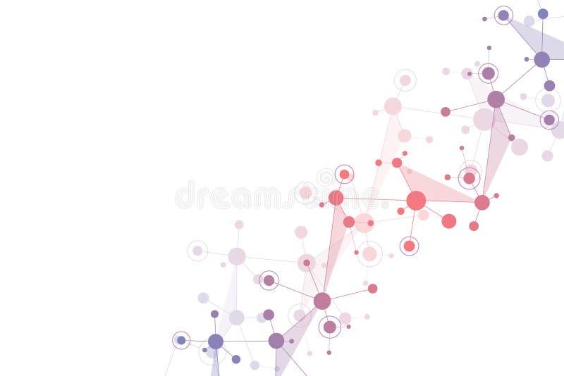 Moleculaire structuurachtergrond en mededeling Abstracte achtergrond met moleculedna en neuraal netwerk Wetenschap en vector illustratie