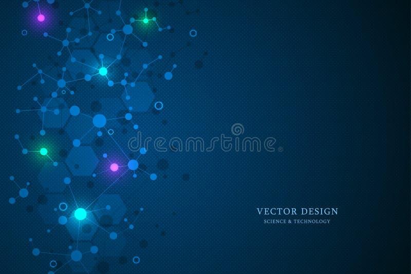 Moleculaire structuurachtergrond en mededeling Abstracte achtergrond van moleculedna Medisch, wetenschap en digitale technologie  royalty-vrije illustratie