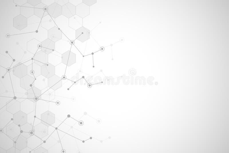 Moleculaire structuurachtergrond en mededeling of neuraal netwerk Abstracte achtergrond van moleculesdna Medisch royalty-vrije illustratie