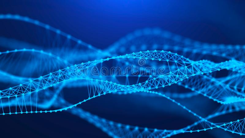 Molecular background with DNA. Network concept with connecting dots and lines. Big data visualization. 3d rendering stock illustration