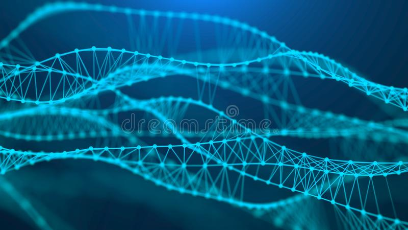 Molecular background with DNA. Network concept with connecting dots and lines. Big data visualization. 3d rendering royalty free illustration