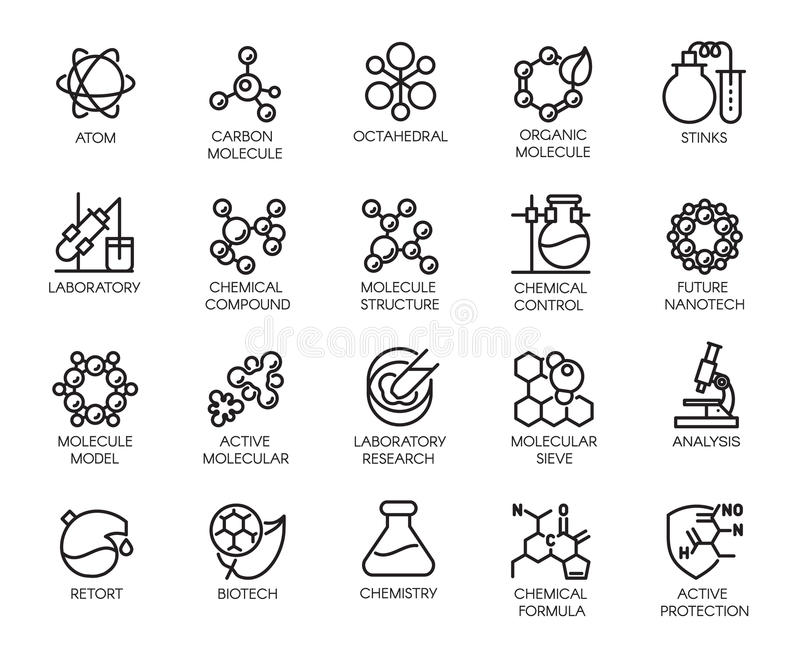 Molecular chemistry, physics and medicine concept icons. In linear style. Big set of 20 outline pictograms isolated on a white background. Scientific symbols stock illustration