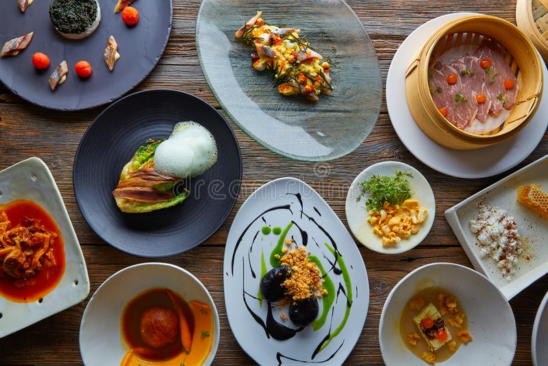 Molecular gastronomy recipes Modern cuisine stock photography