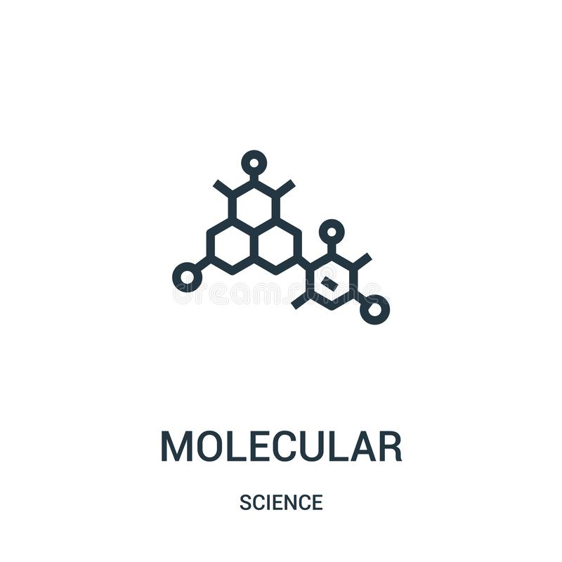 molecular icon vector from science collection. Thin line molecular outline icon vector illustration. Linear symbol for use on web royalty free illustration