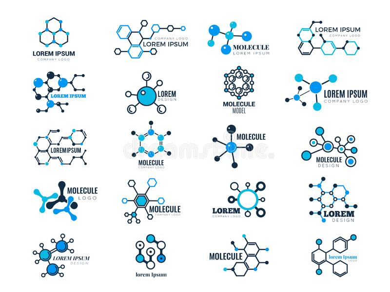 Molecular logotypes. Evolution concept formula chemistry genetic technology medical information node cell vector. Illustrations. Dna molecular, chemistry stock illustration